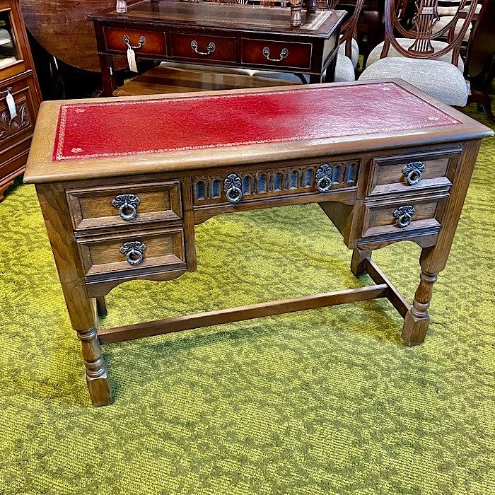 Vintage Oak & Leather Topped Desk