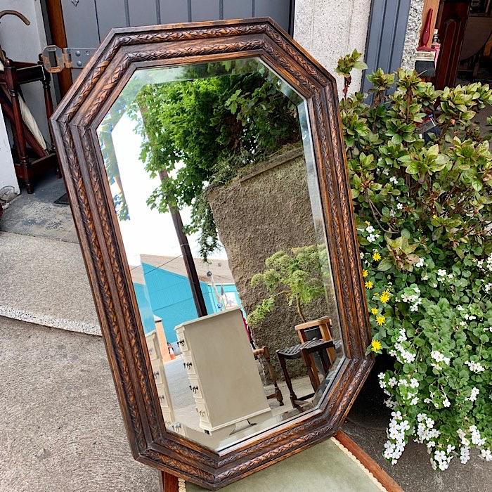 Vintage Oak Octagonal Mirror