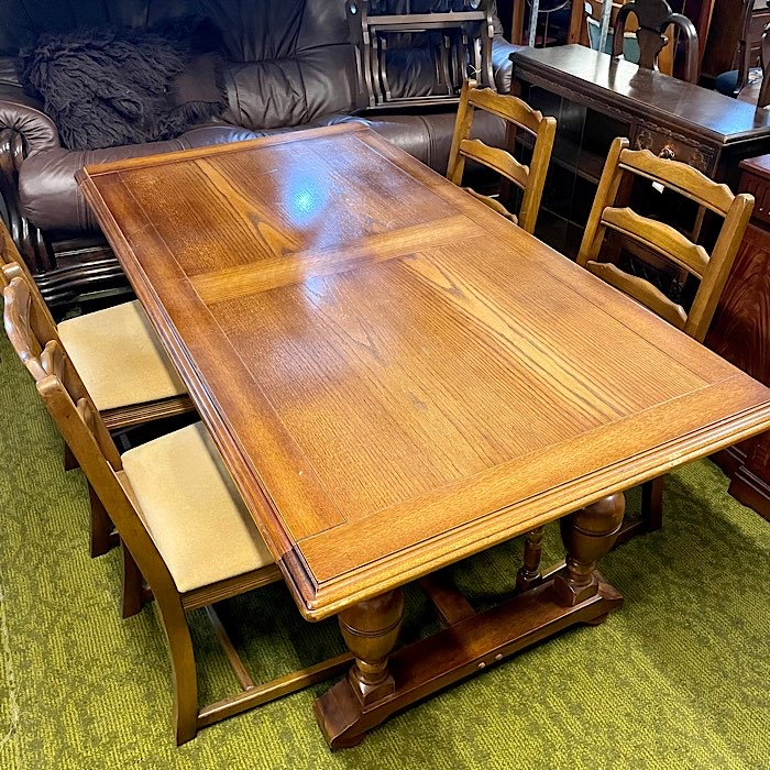 Vintage Oak Refectory Table & Four Chairs