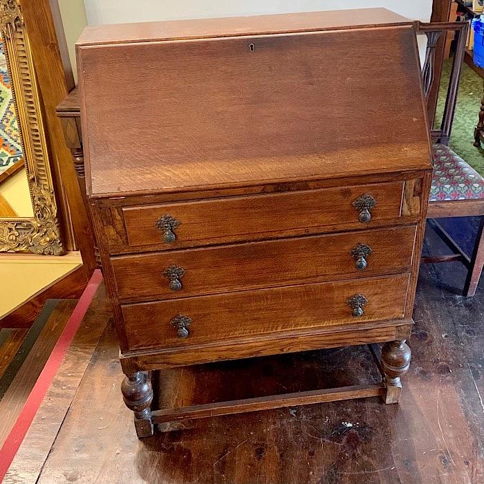 Vintage Oak Three Drawer Bureau