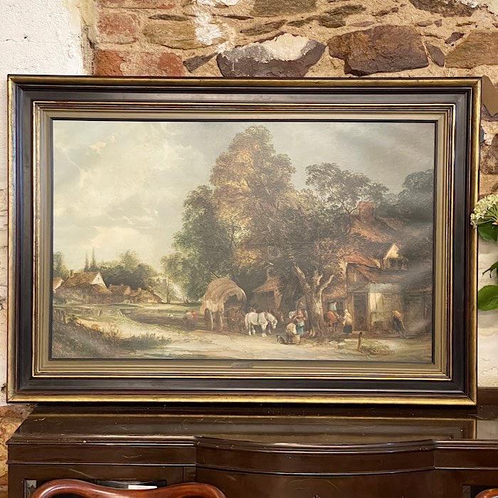 Vintage Oil On Canvas Farm Scene