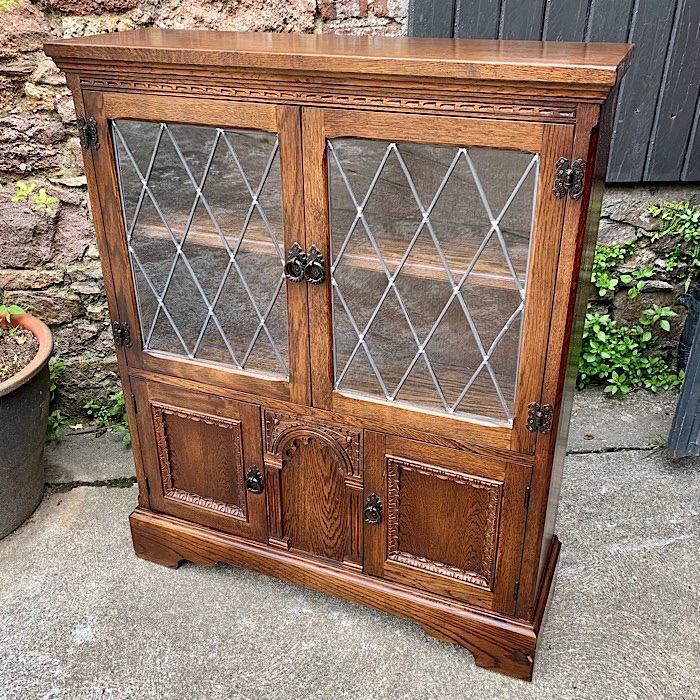 Vintage Old Charm Carved Oak Bookcase