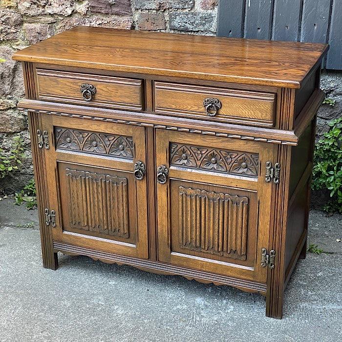 Vintage Old Charm Carved Oak Side Cabinet