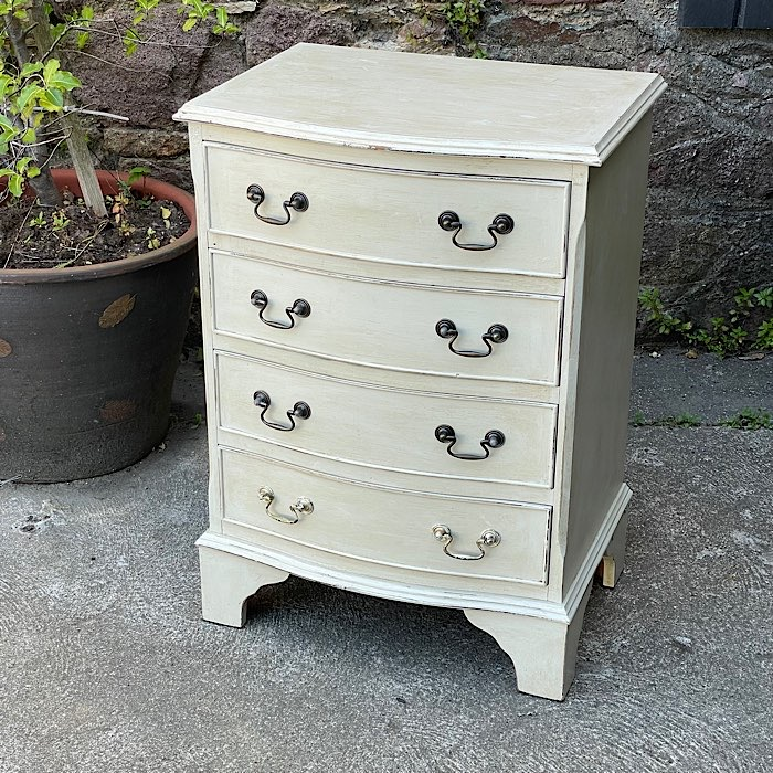 Vintage Painted Small Bow Front Chest