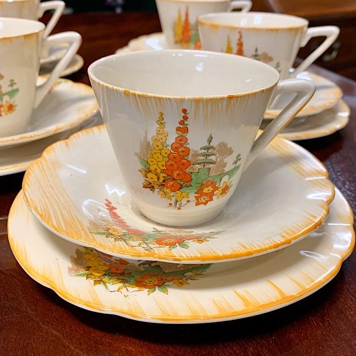 Vintage Tea Set with Orange Flower