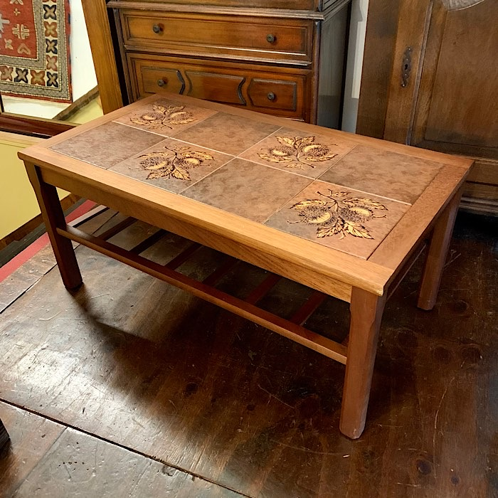 Vintage Teak And Tiled Topped Coffee Table