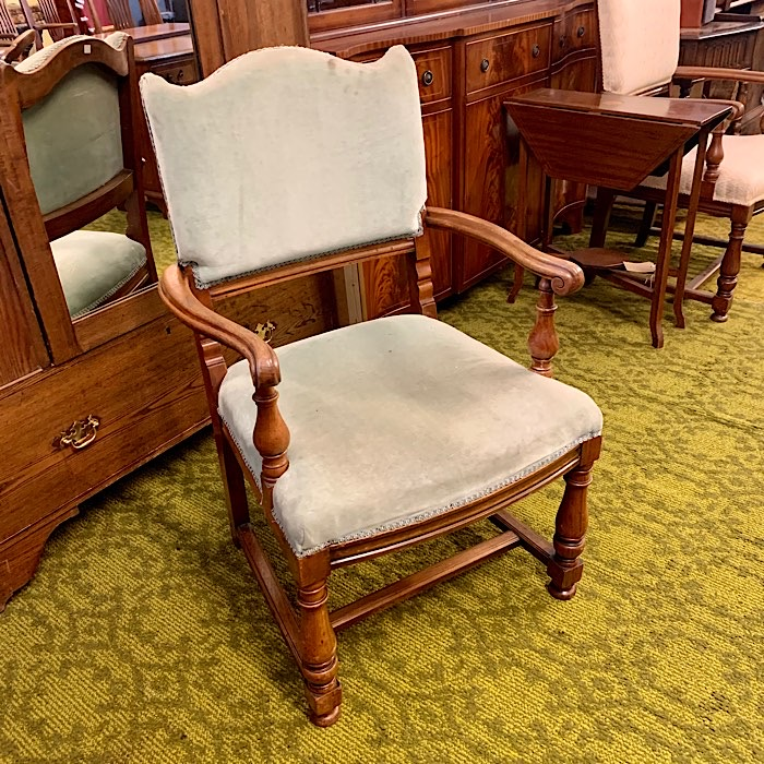 Vintage Walnut And Upholstered Open Armchair