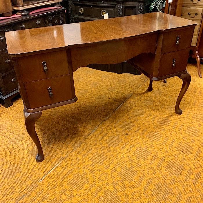Vintage Walnut Kneehole Dressing Table