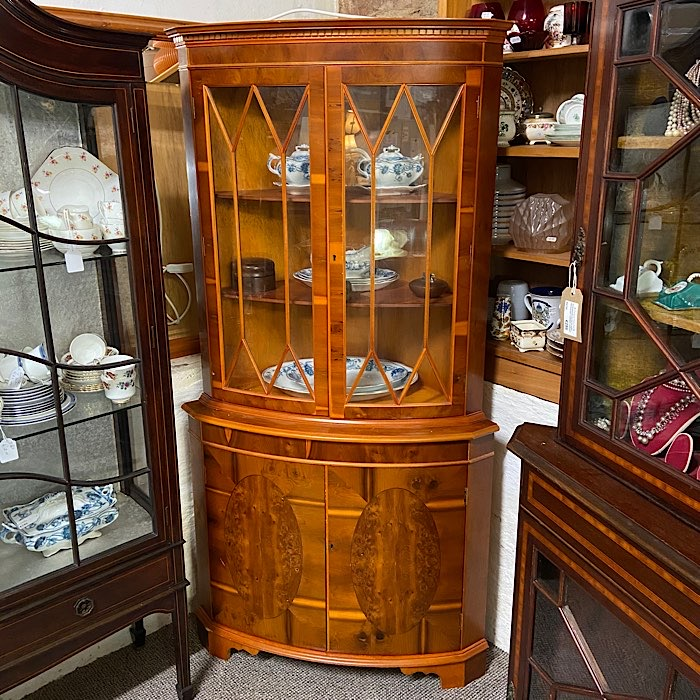 Vintage Yew Wood Freestanding Corner Cabinet