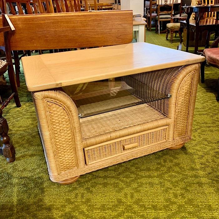 Wicker Single Drawer Coffee Table With Glass Shelf
