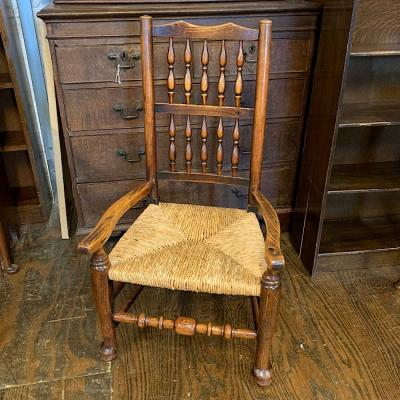 18th Century Elm Rush Seated Elbow Chair