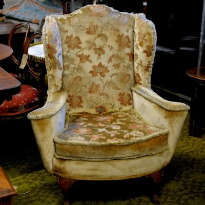 1920S Queen Anne Style Wing Back Arm Chair Cream