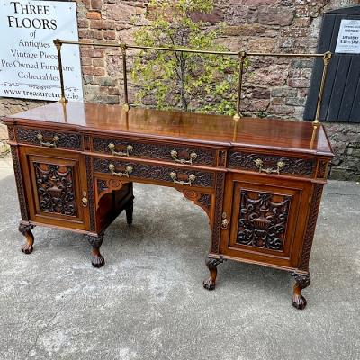 19th Century Anglo-Indian Carved Rosewood Breakfront Sideboard