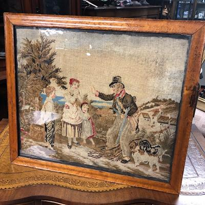 19Th Century Berlin Woolwork In Maple Frame
