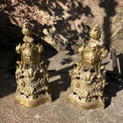 19th Century Brass And Iron Andirons