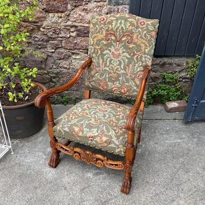 Antique Carved Oak Needlepoint Armchair