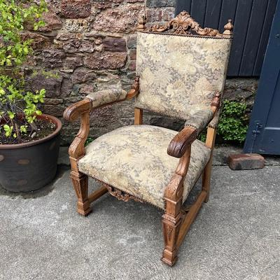 Antique Carved Walnut Armchair