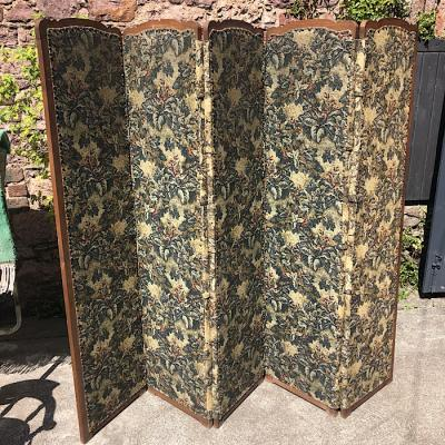 Antique French Elm Upholstered Dressing Screen