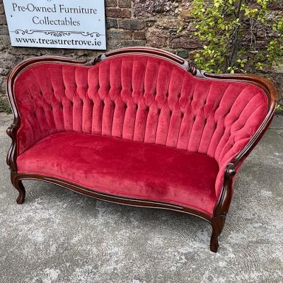 Antique French Upholstered Mahogany Salon Sofa