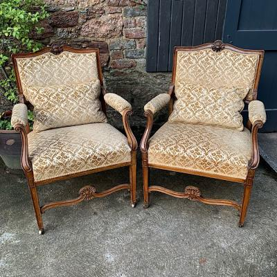 Antique French Walnut Upholstered Armchairs