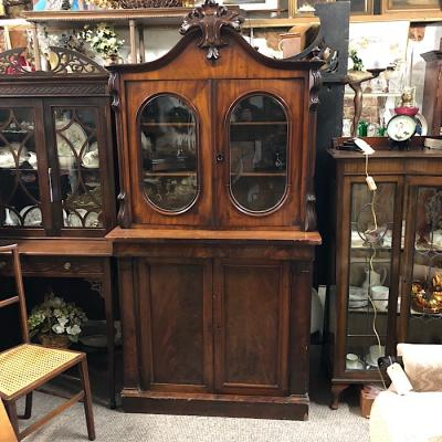 Antique Mahogany Small Glazed Bookcase
