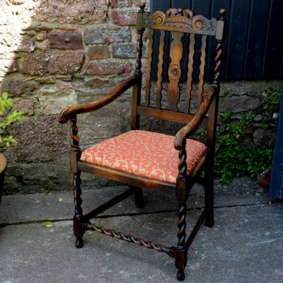 Antique Oak Barley Twist Armchair