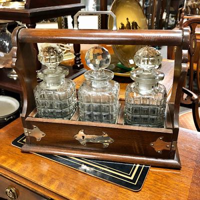 Antique Oak Decanter Tantalus