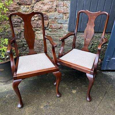 Antique Queen Anne Style Carver Chairs