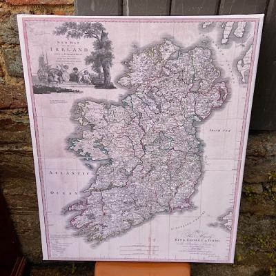 Antique Style Map of Ireland on Canvas