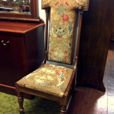 Antique Walnut Prayer Chair