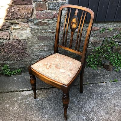 Art Nouveau Inlaid Mahogany Side Chair