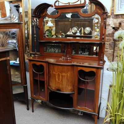 Art Nouveau Inlaid Mahogany Tall Cabinet