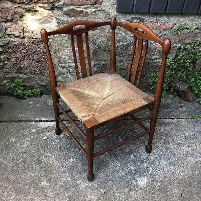 Arts And Crafts Beech Rush Seated Elbow Chair