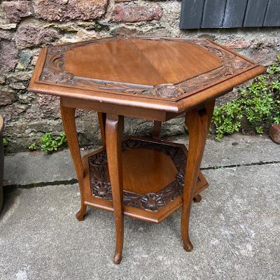 Arts & Crafts Style Carved Walnut Hexagonal Occasional Table