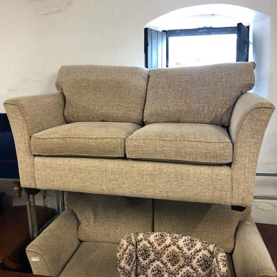 Beige Fabric Two Seater Sofa