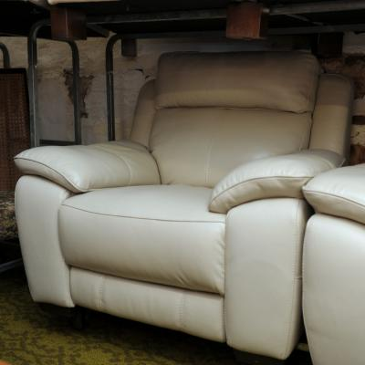 Beige Leather Electric Reclining Armchair