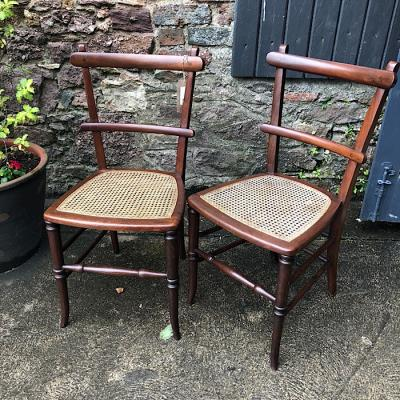 Bentwood Rattan Seat Dining Chairs