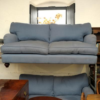 Blue Fabric Pair Two Seater Sofas