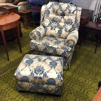 Blue Floral Pattern Armchair & Footstool