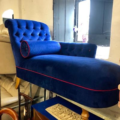 Blue Upholstered Button Back Chaise Longue