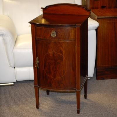 Bow Front Mahogany One Door Cabinet