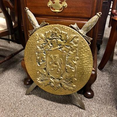 Brass Shield Plaque With Two Swords