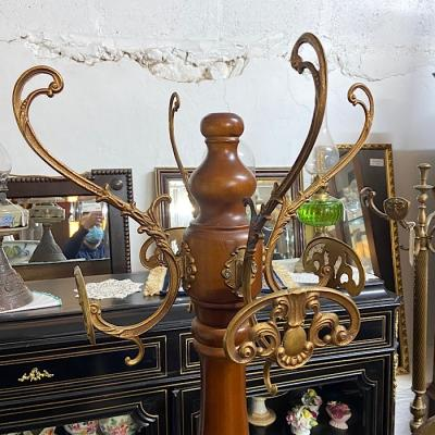 Brass & Wood Hat And Coat Stand