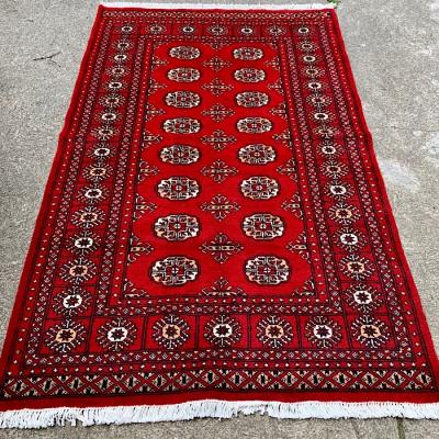 Bright Red Soft Wool Afghan Rug