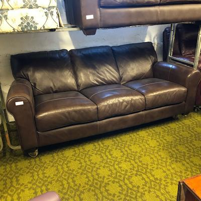 Brown Italian Leather Three Seater Sofa