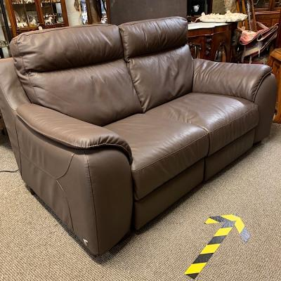 Brown Two Seater Electric Reclining Sofa