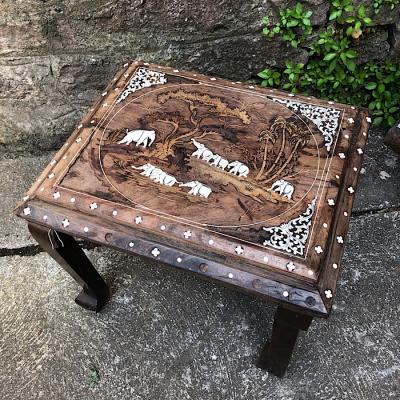 Carved And Inlaid Occasional Table
