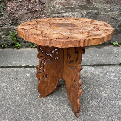 Carved Inlaid Small Occasional Table
