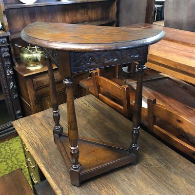 Carved Oak Demi-Lune Hall Table