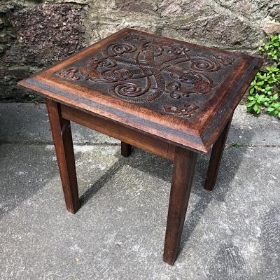 Carved Panel Top Occasional Table